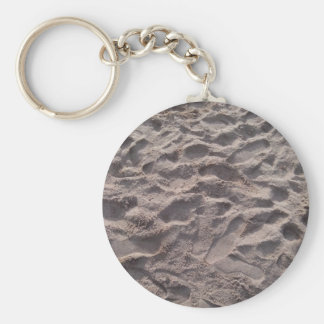 Add your own text, writing in sand, sunny beach basic round button key ring