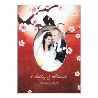 Add Your Photo Cherry Blossom Sakura Love Birds We 13 Cm X 18 Cm Invitation Card