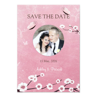 Add Your Photo Sakura and Butterflies Wedding 13 Cm X 18 Cm Invitation Card