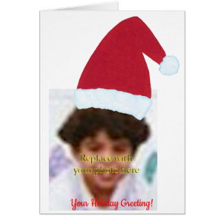 Add Your Picture Photo Santa Hat Greeting Cards