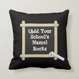 """""""Add Your School's Name"""" Throw Pillow with Chalk"""