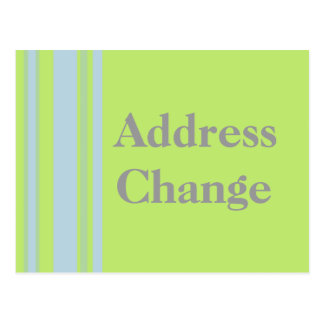 Address Change yellow grey blue stripes Postcard