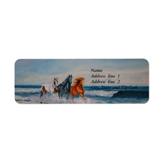 Address Label, Horses in the surf Return Address Label