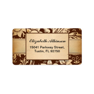 address label with vintage damask brown design