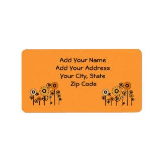 Address Labels, orange Daisies on orange Address Label