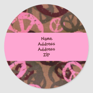 Address Labels-Peace Signs Round Sticker