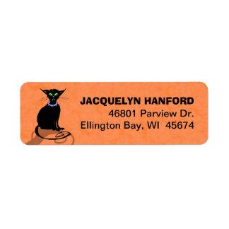 Address Return Label - Black Cat Purple Collar Return Address Label