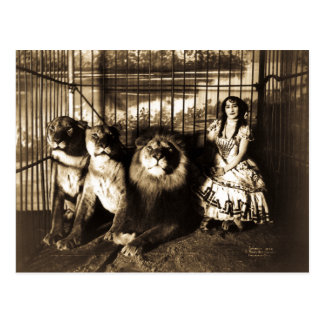 Adjie and the Lions Vintage Circus Postcard