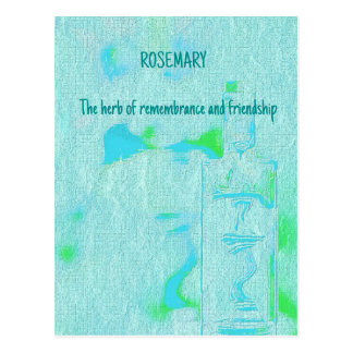 Adjustible Text Aquamarine Rosemary Herbal Meaning Postcard