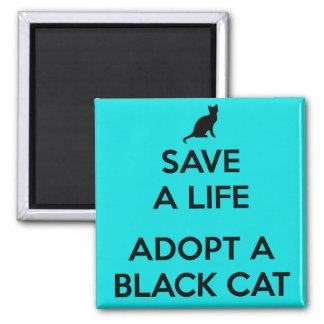 Adopt A Black Cat 2 Inch Square Magnet
