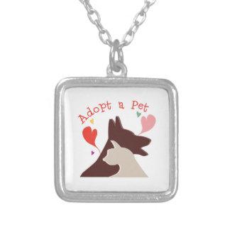 Adopt A Pet Square Pendant Necklace