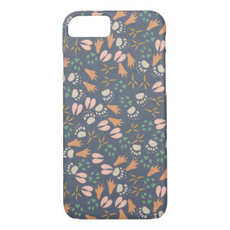 Adorable Animal Foot Prints Pattern iPhone 7 Case