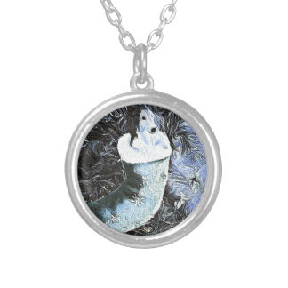 Adorable Artistic Sheltie In Festive Stocking Silver Plated Necklace