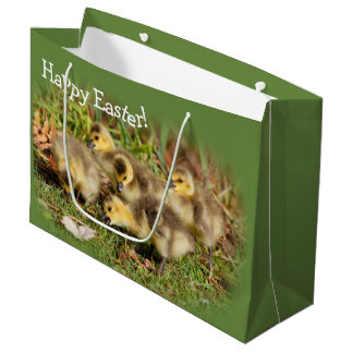 Adorable Baby Canada Geese on the Grass Large Gift Bag