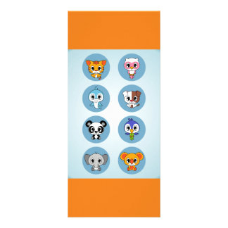 ADORABLE BABY CARTOON ANIMALS COLLECTION FULL COLOR RACK CARD