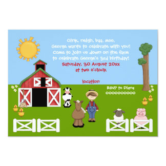 Adorable barnyard farm animal kids birthday 13 cm x 18 cm invitation card