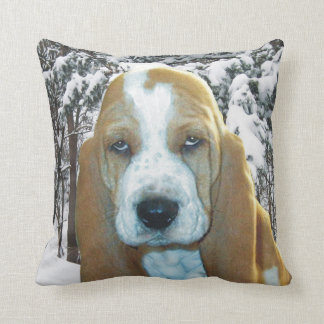 Adorable Basset Hound Puppy Snowy Woods Pillow