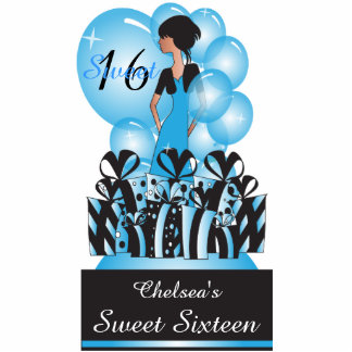 Adorable Birthday| Bachelorette Girl in Blue Standing Photo Sculpture