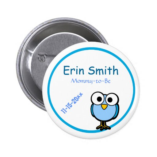 Adorable Blue Owl Mommy To Be Baby Shower Button