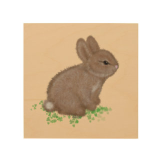 Adorable Bunny (facing right) in Clover Painting Wood Print