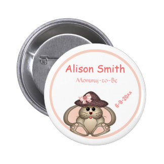 Adorable Bunny Mommy-to-Be Baby Shower Buttons