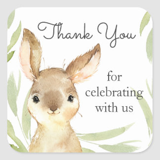 Adorable Bunny Rabbit Baby Shower Thank You Square Sticker
