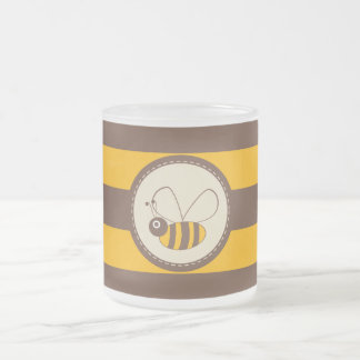 Adorable Cartoon Honey Bee Frosted Glass Mug