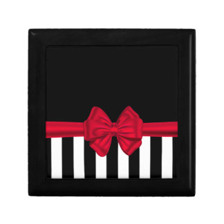 Adorable cheerful chic red bow black white stripes small square gift box