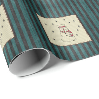 Adorable cheerful Christmas snowman patchwork Wrapping Paper