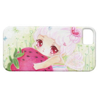 Adorable chibi girl with strawberry barely there iPhone 5 case