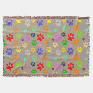 Adorable Colorful Pet Paws Print Pattern Throw Blanket