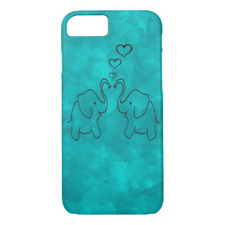Adorable cute elephants in love iPhone 7 case