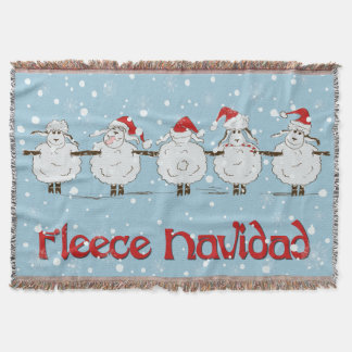Adorable FUNNY Fleece Navidad Christmas Sheep Throw Blanket