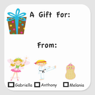 Adorable Gift Tag With Kids Names Sticker