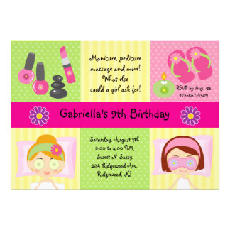 Adorable Girl s Spa Party Birthday Invitation