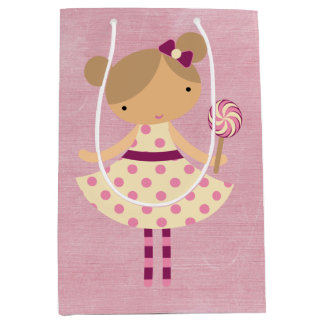 Adorable Girly Country Doll Medium Gift Bag