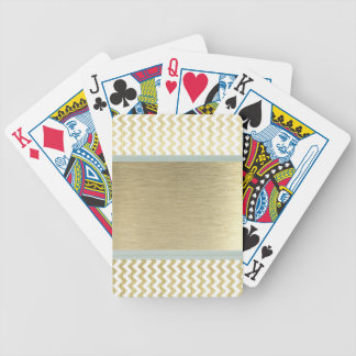 Adorable Glamourous chevron gold Bicycle Playing Cards