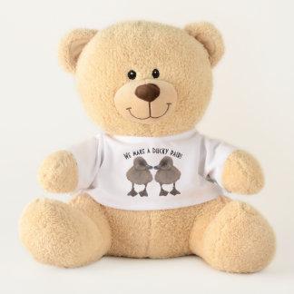 Adorable Gray Duckling Face Each Other Photographs Teddy Bear