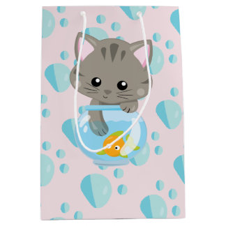 Adorable Gray Tabby Kitten with Fish Bowl Medium Gift Bag