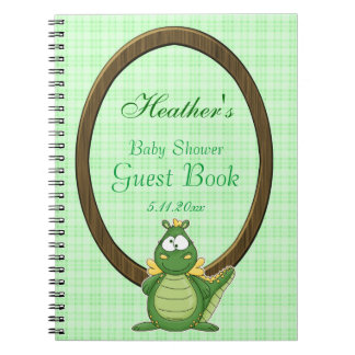 Adorable Green Dragon on Green Plaid Baby Shower Notebooks