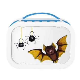 Adorable Halloween Brown Bat with 2 Fluffy Spiders Lunch Box