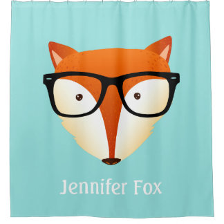 Adorable Hipster Fox Monogram Name Shower Curtain