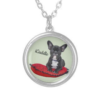 Adorable iCuddle French Bulldog Silver Plated Necklace