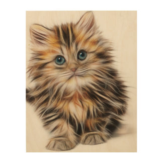 Adorable Kitten Painting Wood Prints