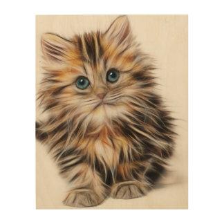 Adorable Kitten Painting Wood Wall Art