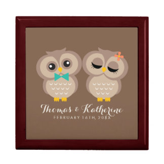 Adorable Owl Couple Large Square Gift Box