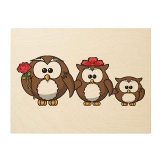 Adorable Owl Family Wood Wall Decor