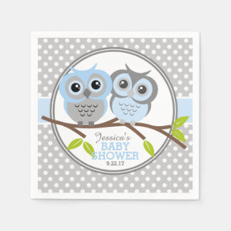 Adorable Owls Baby Shower Paper Napkins