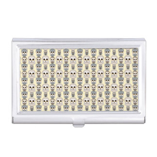 Adorable Owls Pattern on Light Yellow Background Business Card Holder
