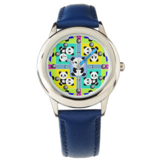 Adorable Panda Bears In Bright Colors Watch